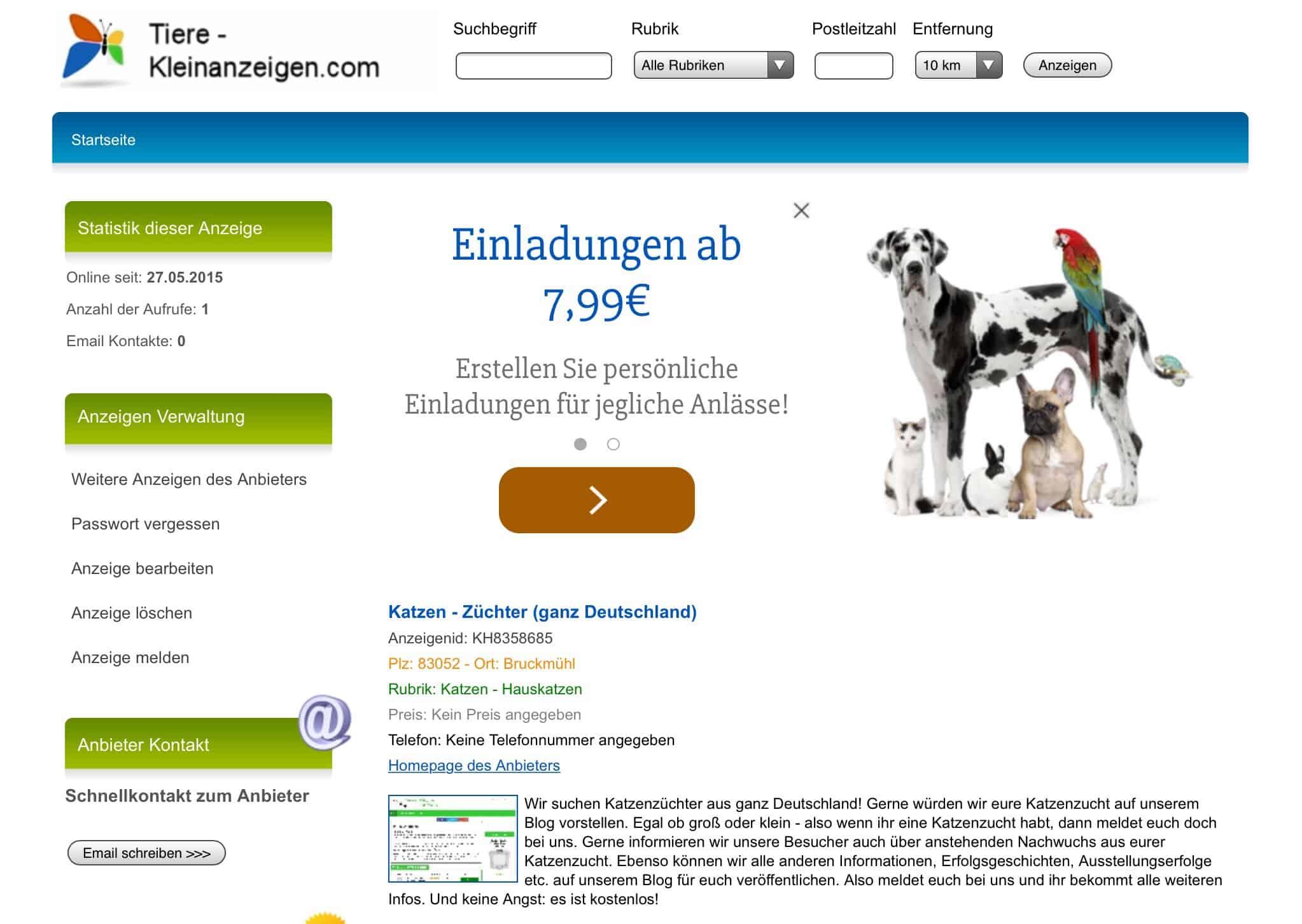 tiere-kleinanzeigen.com kostenlose Kleinanzeigen